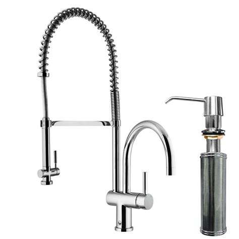 pull spray kitchen faucet vigo single handle pull sprayer kitchen faucet with soap dispenser in chrome vg02006chk2