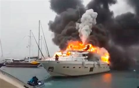 yacht fire video princess 95 superyacht fire in turkish marina