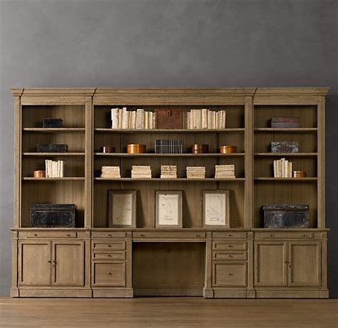 library bookcase wall unit restoration hardware library desk wall system restoration hardware office