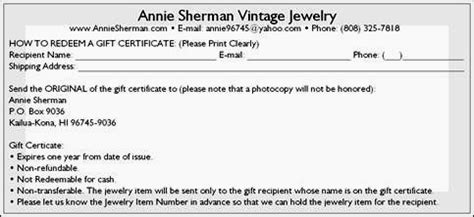 Gift Certificate Terms And Conditions Template by Vintage Jewelry Gift Certificates Gift Cards Make Gift