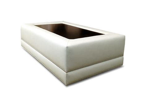 Upholstered Ottoman With Wood Tray Option