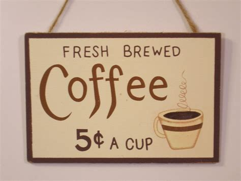 Coffee Signs Kitchen Decor by Rustic Country Wood Sign Fresh Brewed Coffee 5c A Cup Home