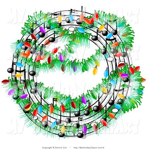 clip art of christmas music symbols in a wreath decorated