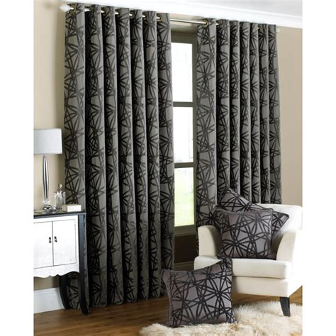Black And Grey Curtains Riva Paoletti Diverse Black And Grey Criss Cross Readymade Eyelet Curtains Riva Paoletti From