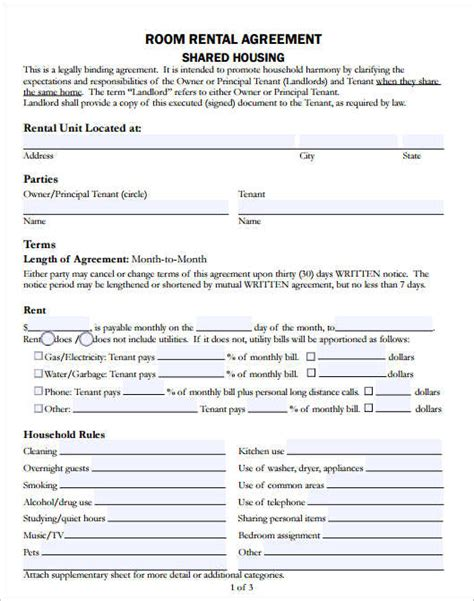 room rental lease agreement template 29 rental agreement form free word pdf templates