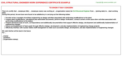 Experience Letter Qc Engineer Civil Structural Engineer Work Experience Certificate