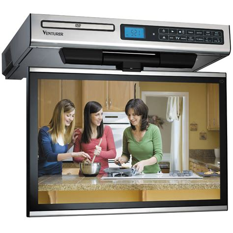 kitchen tv under cabinet mount venturer klv3915 15 4 quot kitchen lcd tv dvd combo klv3915 b h