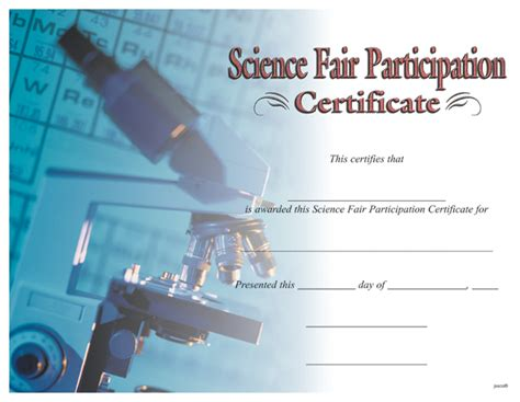 science fair participation certificate template award certificates