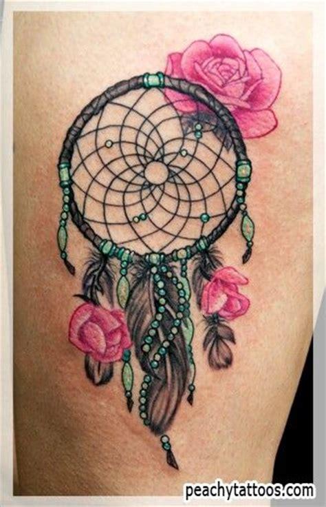 dream catcher tattoo with pink roses dreamcatcher tattoo art pinterest green colors