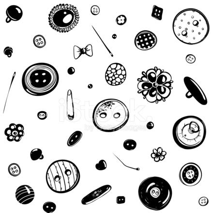 pattern ink drawing buttons and needles seamless pattern ink drawing stock