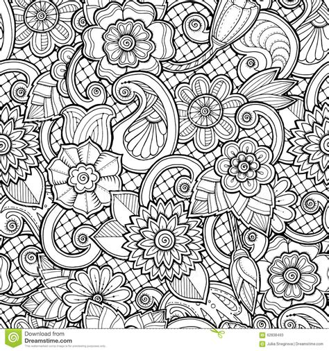 Seamless Background In Vector With Doodles Flowers And