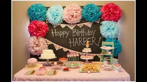 birthday decoration in home baby girl first birthday party decorations at home ideas