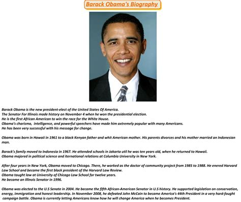 barack obama biography presentation barack obama birth biography