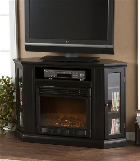 black corner tv stand electric fireplace home