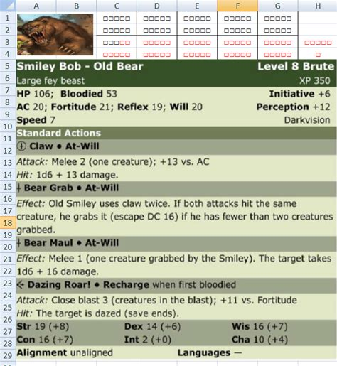 4e Ability Cards Template Guide by Dnd 4e D D4e Stat Block Templates For