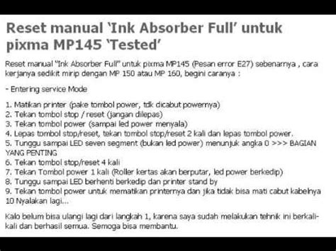 reset canon mp145 error e14 reset manual canon pixma mp145 quot ink absorber full quot youtube