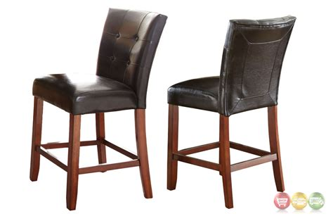 Black Leather Counter Height Chairs Set Of 2 Bello Black Leather Tufted Counter Height Chairs