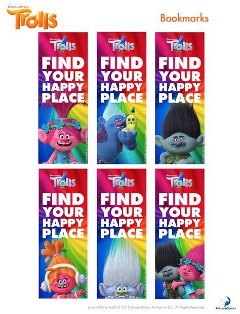 printable poppy bookmark trolls party