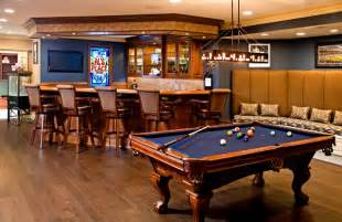 Bar with built in banquet style seating & pool table   Traditional   Basement   philadelphia