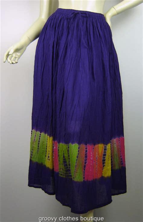 festival boho crinkle cotton tie dye maxi skirt sz 8