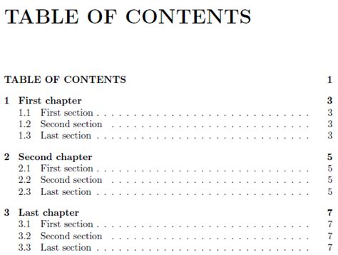 list of chapters table of contents remove dots for chapters in toc with