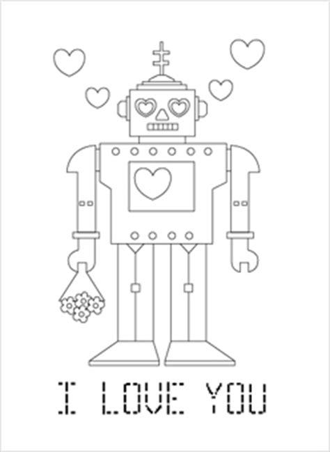 Robot Valentine Coloring Page | robot coloring pages mr printables