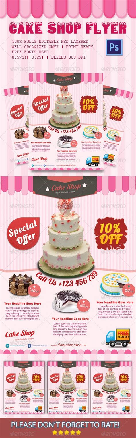 Cake Shop Flyer Cake Shop Event Flyers And Print Templates Cake Brochure Template Free