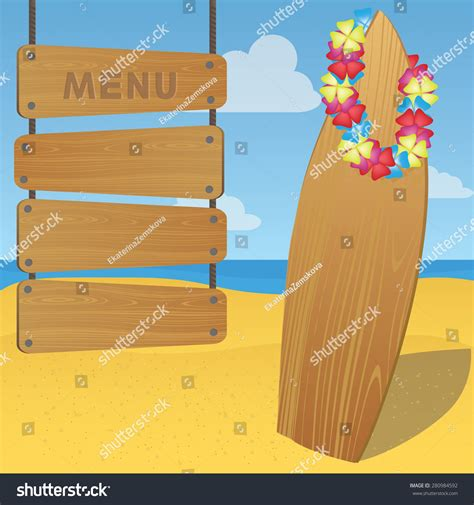 vector illustration of wooden surfboard and menu template