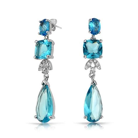 Blue Topaz Color Cz Square Teardrop Cz Bridal Chandelier Topaz Chandelier Earrings