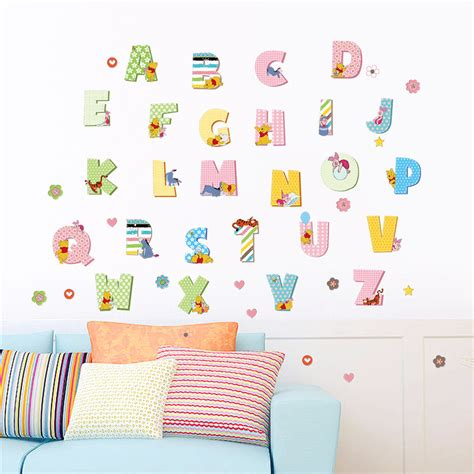 winnie pooh tiger alphabet wall stickers for kids rooms