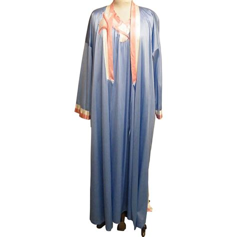 vanity fair robes vanity fair robe gown set tricot blue with coral white