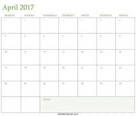 April Calendar Template by Blank April 2017 Calendar Template Word Pdf Monhly