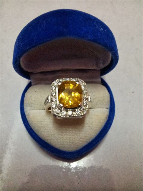 Zamrud Zambia 5 10 Carat cincin batu permata asli yellow sapphire kod nb24