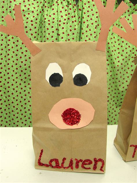 Paper Bag Reindeer Craft - lil country librarian rudolph craft writing prompt