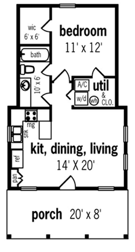 guest house plans 500 square hickory pass 500 7104 1 bedroom and 1 5 baths the house designers