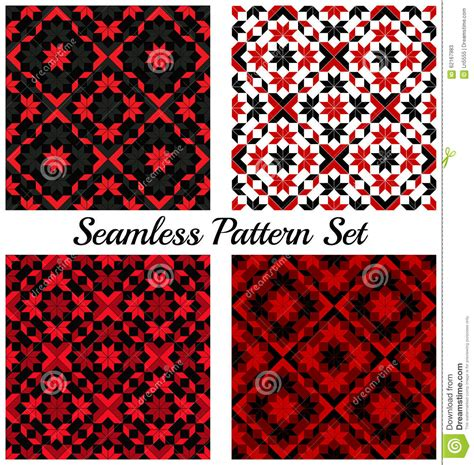 different reds set of four stylish geometric seamless patterns with