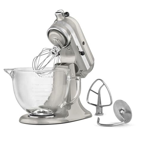 KitchenAid KSM155GBSR 10 Speed Stand Mixer w/ 5 qt Glass Bowl & Accessories, Sugar Pearl