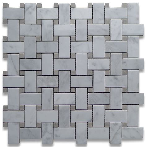carrara white carrera marble basketweave polished 1x2