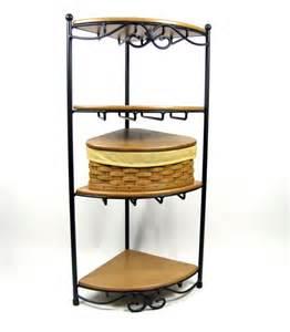 longaberger wrought iron corner rack w shelves 2003