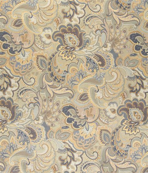 Fabric For Reupholstering Beige Gold And Blue Large Intricate Floral And