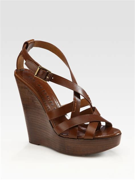 brown sandal wedges burberry leather slingback wedge sandals in brown