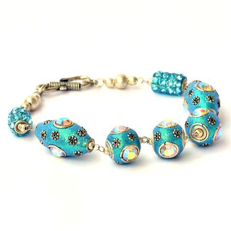 Handmade Metal Bracelets - handmade bracelet aqua glitter with metal
