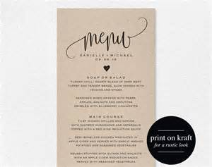 Bridal Shower Menu Template by Rustic Wedding Menu Wedding Menu Template Menu Cards Menu