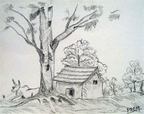 Landscape Drawing By Prem Easy House Landscape Drawings