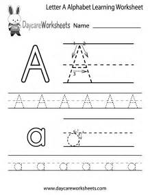 free letter a alphabet learning worksheet for preschool
