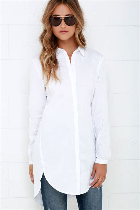 Hmm Tuneec Longshirt mink pink call me button up top sleeve top white top 63 00