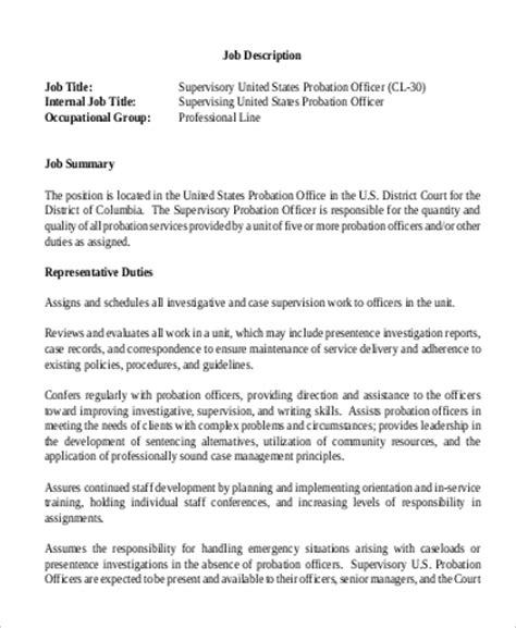 Parole Officer Definition by Sle Probation Officer Descriptions 9 Exles In