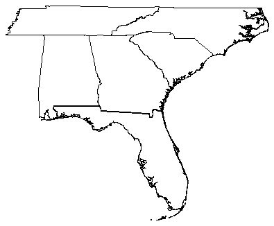Southern United States Outline Map by Blank Map Of Southeast Us
