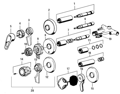 mixet shower valve diagram mixet shower faucet parts