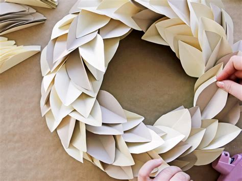 How To Make A Wreath Out Of Paper - how to make a paper leaf wreath hgtv crafternoon hgtv